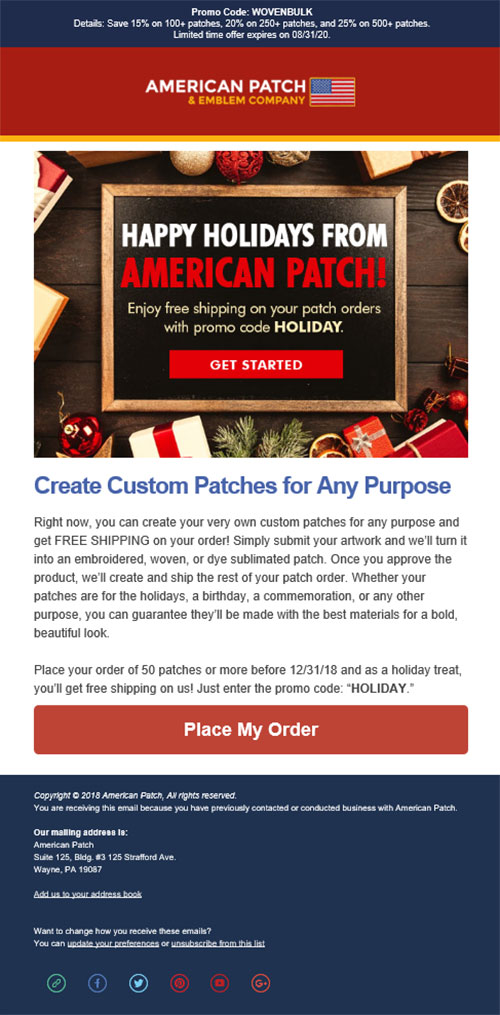 Sample Email Marketing Campaign for American Patch